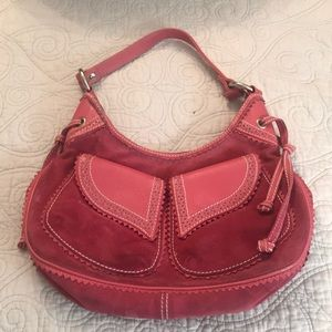 Hot pink suede purse